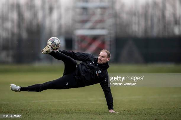 Assistant Coach Alexander Zickler in action during a Training session of Borussia Moenchengladbach at Borussia-Park on February 22, 2021 in...