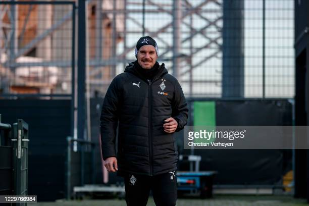November 24: Assistant Coach Alexander Zickler is seen during a Borussia Moenchengladbach Training session ahead the Group B - UEFA Champions League...