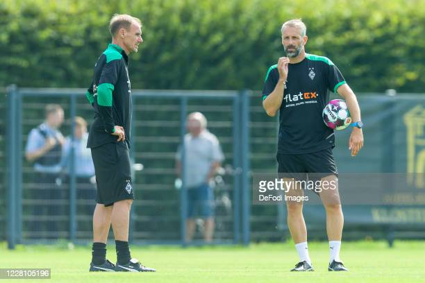 Assistant coach Alexander Zickler of Borussia Moenchengladbach and head coach Marco Rose of Borussia Moenchengladbach looks on during day 3 of the...