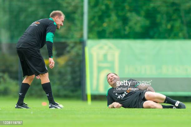 assistant coach Alexander Zickler of Borussia Moenchengladbach and Sporting director Max Eberl of Borussia Moenchengladbach smiles during day 4 of...