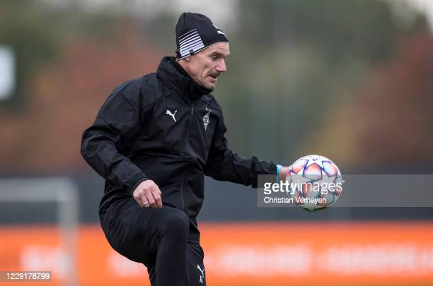 Assistant Coach Alexander Zickler of Borussia Moenchengladbach in action during a training session of Borussia Moenchengladbach at Borussia-Park on...