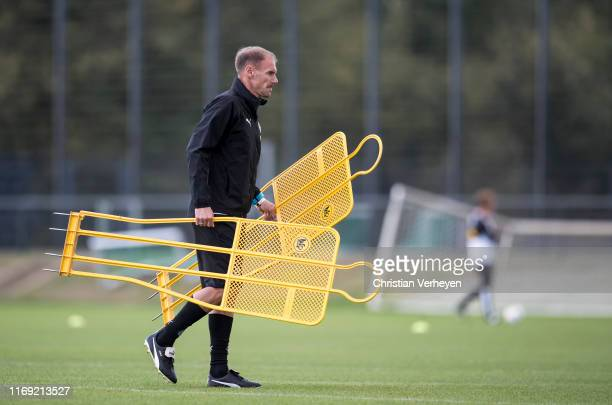 Assistant Coach Alexander Zickler of Borussia Moenchengladbach is seen during a Borussia Training session ahead the UEFA Europa League match against...