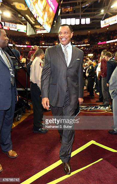 Assistant Coach Alvin Gentry of the Golden State Warriors smiles after winning Game Four of the 2015 NBA Finals at The Quicken Loans Arena on June 11...