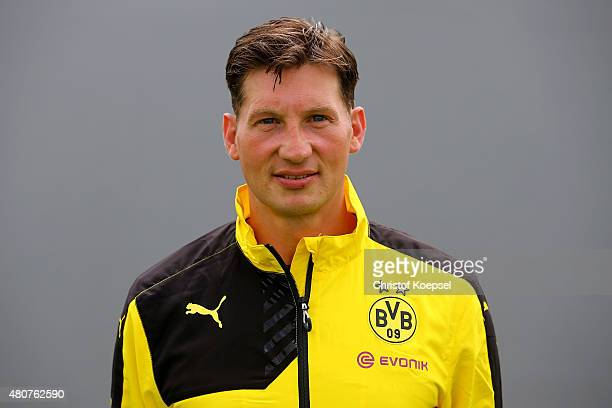 Assistant coach Andreas Beck poses during the team presentation of Borussia Dortmund at Brackel training ground on July 15 2015 in Dortmund Germany