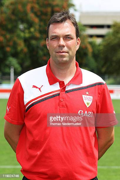 Assistant coach Andreas Menger poses during the VfB Stuttgart team presentation at Stuttgart's training ground on July 14 2011 in Stuttgart Germany