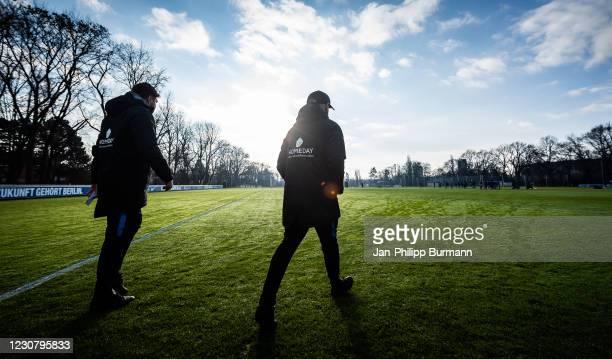 Assistant coach Andreas 'Zecke' Neuendorf and assistant coach Admir Hamzagic of Hertha BSC during the training session at Schenckendorffplatz on...