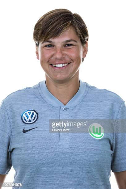 Assistant coach Ariane Hingst of VfL Wolfsburg poses during the Allianz Frauen Bundesliga Club Tour at AOK Stadion on July 26 2018 in Wolfsburg...