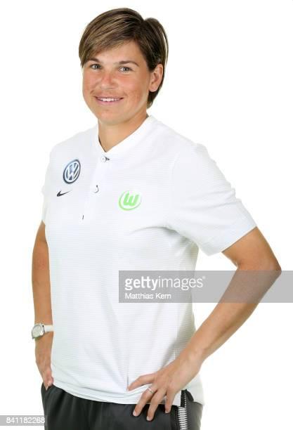Assistant coach Ariane Hingst of VfL Wolfsburg poses during the Allianz Frauen Bundesliga Club Tour at AOK Stadion on August 29 2017 in Wolfsburg...