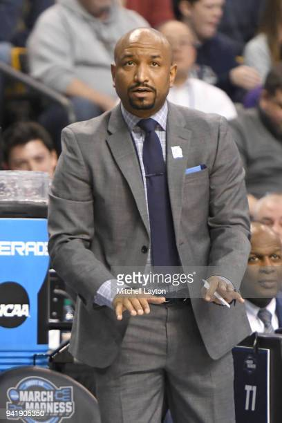 Assistant coach Ashley Howard of the Villanova Wildcats looks on during the 2018 NCAA Men's Basketball Tournament East Regional against the West...