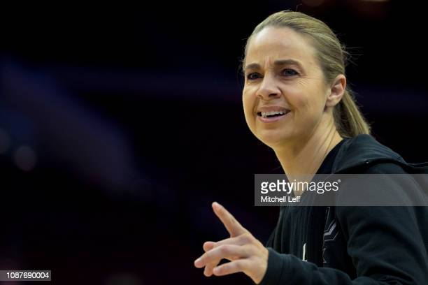 Assistant coach Becky Hammon of the San Antonio Spurs points during warms up prior to the game against the Philadelphia 76ers at the Wells Fargo...