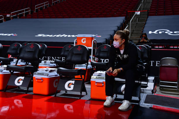 Assistant Coach Becky Hammon of the San Antonio Spurs prior to the game against the Houston Rockets on December 17, 2020 at the Toyota Center in...