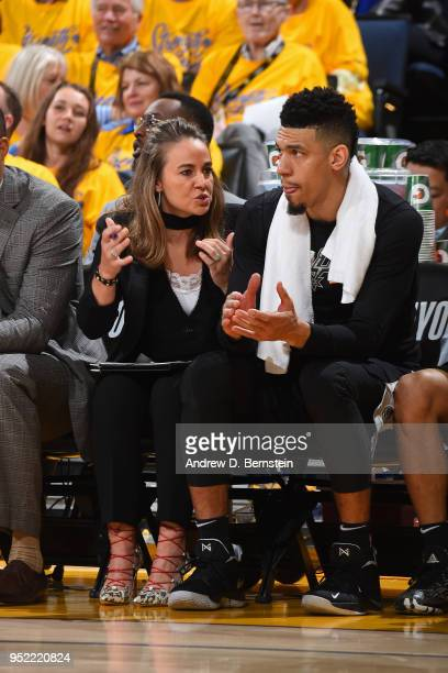 Assistant Coach Becky Hammon of the San Antonio Spurs speaks with Danny Green of the San Antonio Spurs during the game against the Golden State...