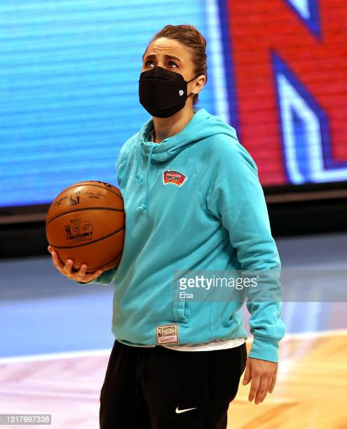 Assistant coach Becky Hammon of the San Antonio Spurs warms up with her team before the game against the Brooklyn Nets at Barclays Center on May 12,...