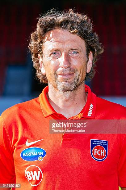 Assistant coach Bernd Weng poses during the 1FC Heidenheim team presentation at VoithArena on July 5 2016 in Heidenheim Germany