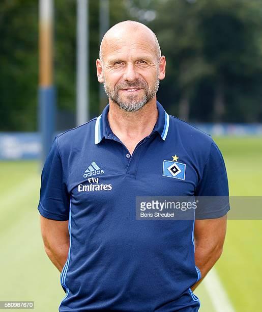 Assistant coach Bernhard Trares of Hamburger SV poses during the Hamburger SV Team Presentation at Volksparkstadion on July 25 2016 in Hamburg Germany