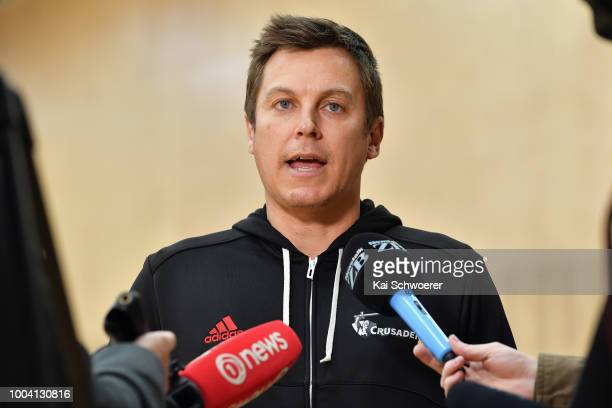 Assistant Coach Brad Mooar speaks to the media following a Crusaders Super Rugby training session at St Andrew's College on July 23 2018 in...