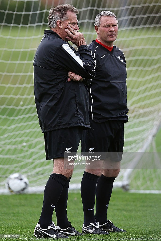 Assistant coach Brian Turner looks on with head coach Ricki Herbert during a New Zealand All Whites training session at North Harbour Stadium on May 20, 2010 in Auckland, New Zealand.