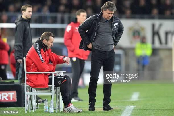 Assistant coach Carsten Rump and head coach Jeff Saibene of Bielefeld react during the Second Bundesliga match between DSC Arminia Bielefeld and VfB...