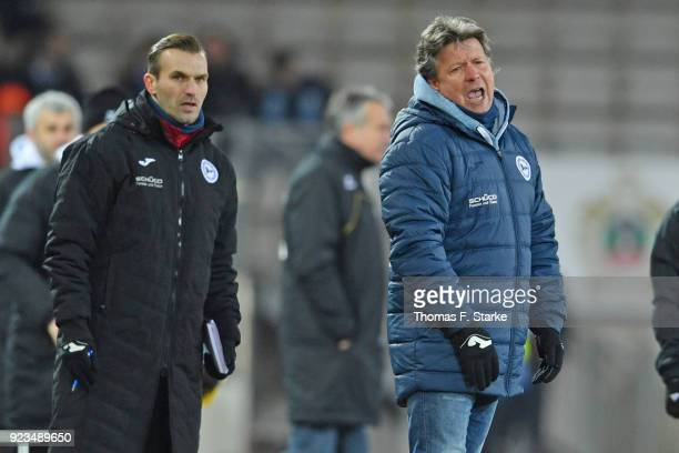 Assistant coach Carsten Rump and head coach Jeff Saibene of Bielefeld look dejected during the Second Bundesliga match between DSC Arminia Bielefeld...