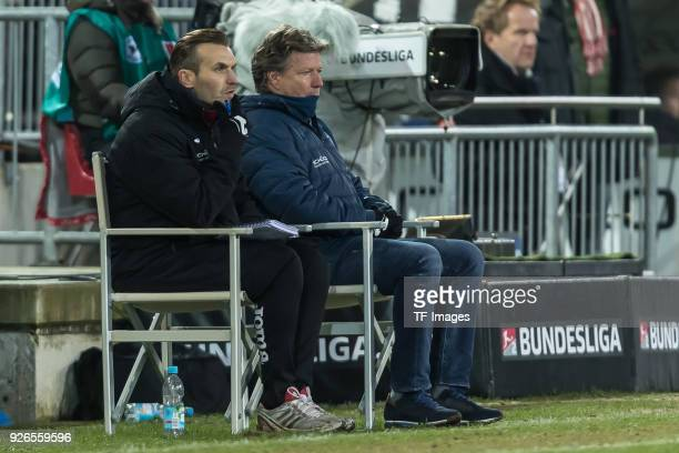 Assistant coach Carsten Rump of Bielefeld and Head coach Jeff Saibene of Bielefeld look on during the Second Bundesliga match between Arminia...