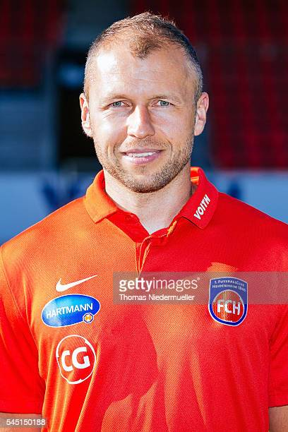 Assistant coach Christian Gmuender poses during the 1FC Heidenheim team presentation at VoithArena on July 5 2016 in Heidenheim Germany