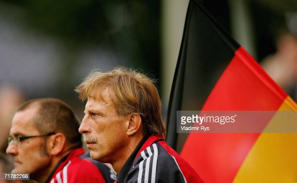 Assistant coach Christof Daum and coach Willi Breuer of Germany look on during the INAS-FID World Cup match for handicapped people between Germany...