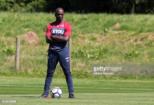 Assistant coach Claude Makelele watches the players train during the Swansea City Training at The Fairwood Training Ground on July 5 2017 in Swansea...