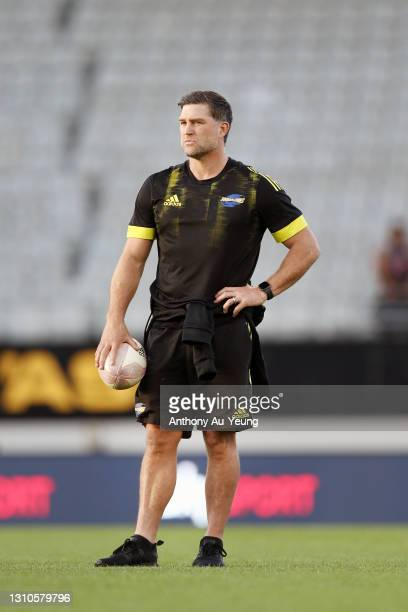 Assistant Coach Cory Jane of the Hurricanes looks on prior tp the round 6 Super Rugby Aotearoa match between the Blues and the Hurricanes at Eden...