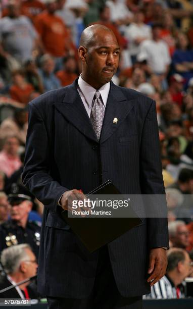 Assistant Coach Danny Manning of the Kansas Jayhawks looks on from the sideline during their game against the Texas Longhorns in the final of the...