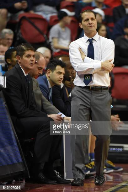 Assistant coach Dave Rice and head coach Eric Musselman of the Nevada Wolf Pack look on during the team's game against the UNLV Rebels at the Thomas...