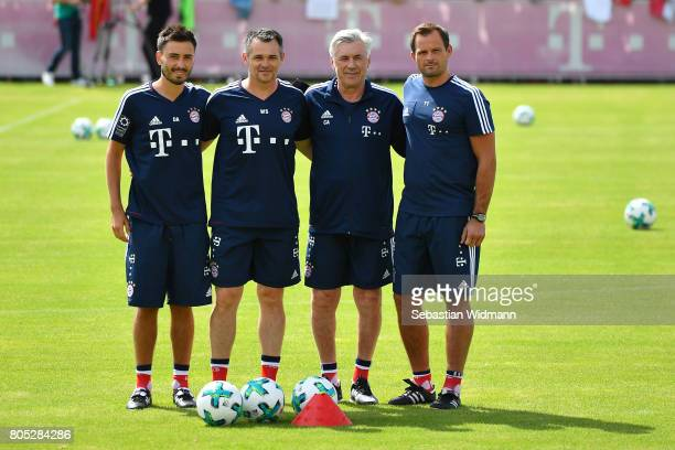 Assistant coach Davide Ancelotti assistant coach Willy Sagnol head coach Carlo Ancelotti and goalkeeping coach Toni Tapalovic of FC Bayern Muenchen...