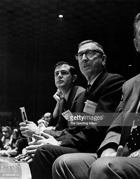 Assistant coach Denny Crum and head coach John Wooden of the UCLA Bruins circa 1969 in Los Angeles California