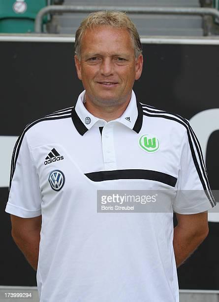 Assistant coach Dirk Bremser of VfL Wolfsburg poses during the Bundesliga team presentation of VfL Wolfsburg at Volkswagen Arena on July 18 2013 in...