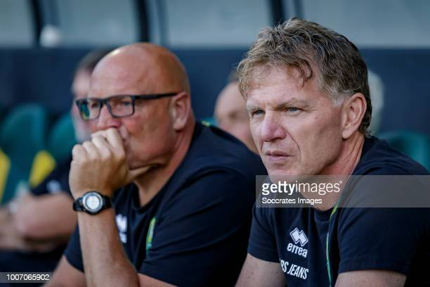 assistant coach Dirk Heesen of ADO Den Haag coach Alfons Groenendijk of ADO Den Haag during the Club Friendly match between ADO Den Haag v...