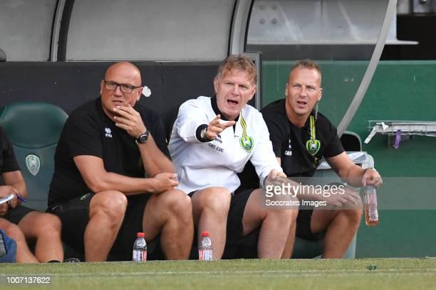 assistant coach Dirk Heesen of ADO Den Haag coach Alfons Groenendijk of ADO Den Haag assistant coach Edwin de Graaf of ADO Den Haag during the Club...