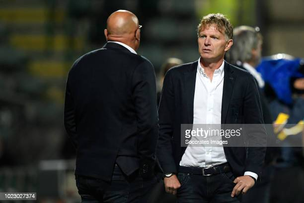 assistant coach Dirk Heesen of ADO Den Haag coach Alfons Groenendijk of ADO Den Haag during the Dutch Eredivisie match between ADO Den Haag v Fortuna...