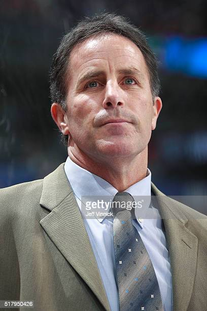 Assistant coach Doug Lidster of the Vancouver Canucks looks on from the bench during their NHL game against the Anaheim Ducks at Rogers Arena...