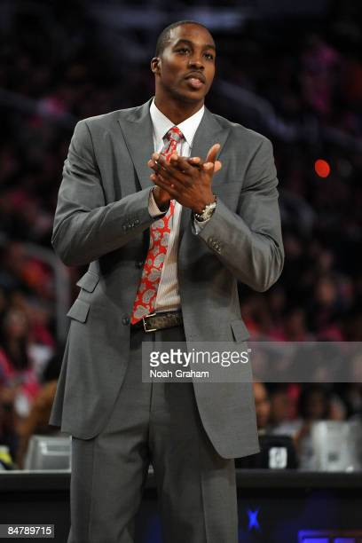 Assistant coach Dwight Howard of the Sophomore team reacts during the TMobile Rookie Challenge Youth Jam part of 2009 NBA AllStar Weekend at US...