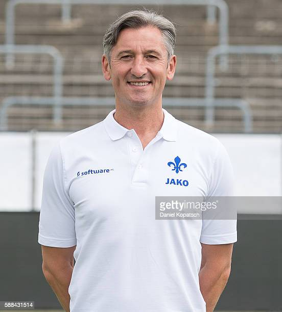 Assistant coach Efthimios Kompodietas poses during the Darmstadt 98 Team Presentation on August 11 2016 in Darmstadt Germany