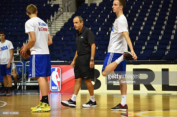 Assistant Coach Etore Messina of the San Antonio Spurs instructs at a coaches clinic during the 2014 Global Games on October 6 2014 at the o2 Arena...