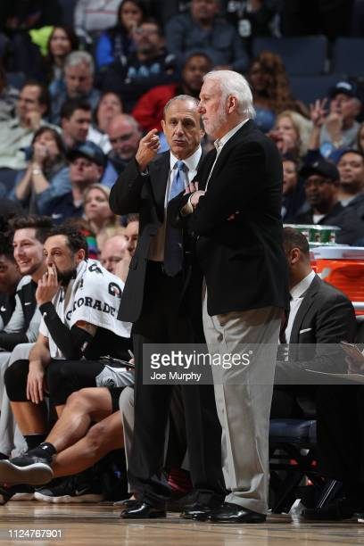 Assistant Coach Ettore Messina and Gregg Popovich of the San Antonio Spurs talk during the game against the Memphis Grizzlies on February 12, 2019 at...