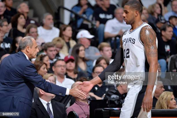 Assistant Coach Ettore Messina and LaMarcus Aldridge of the San Antonio Spurs during Game Three of the Western Conference Quarterfinals against the...