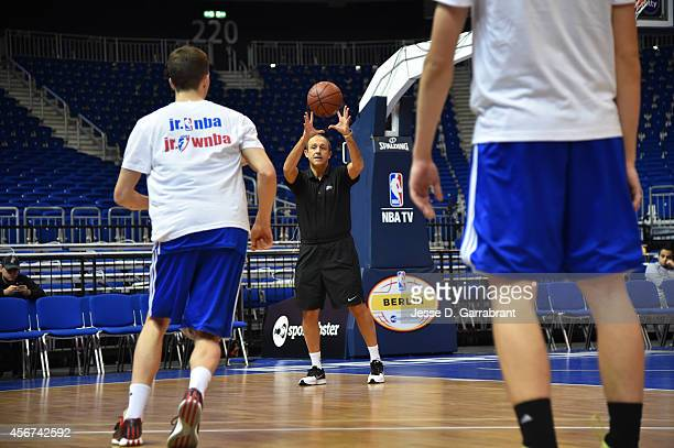 Assistant Coach Ettore Messina of the San Antonio Spurs instructs at a coaches clinic during the 2014 Global Games on October 6 2014 at the o2 Arena...
