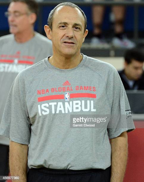Assistant Coach Ettore Messina of the San Antonio Spurs poses during practice as part of the NBA Global Games on October 10 2014 at the Darussafaka...