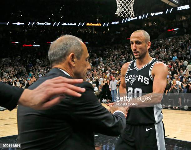 Assistant coach Ettore Messinaof the San Antonio Spurs, filling in for head coach Gregg Popovich who is away after the death of his wife,...