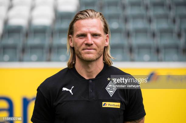 Assistant Coach Eugen Polanski of Borussia Moenchengladbach poses during the team presentation at Borussia-Park on August 01, 2019 in...