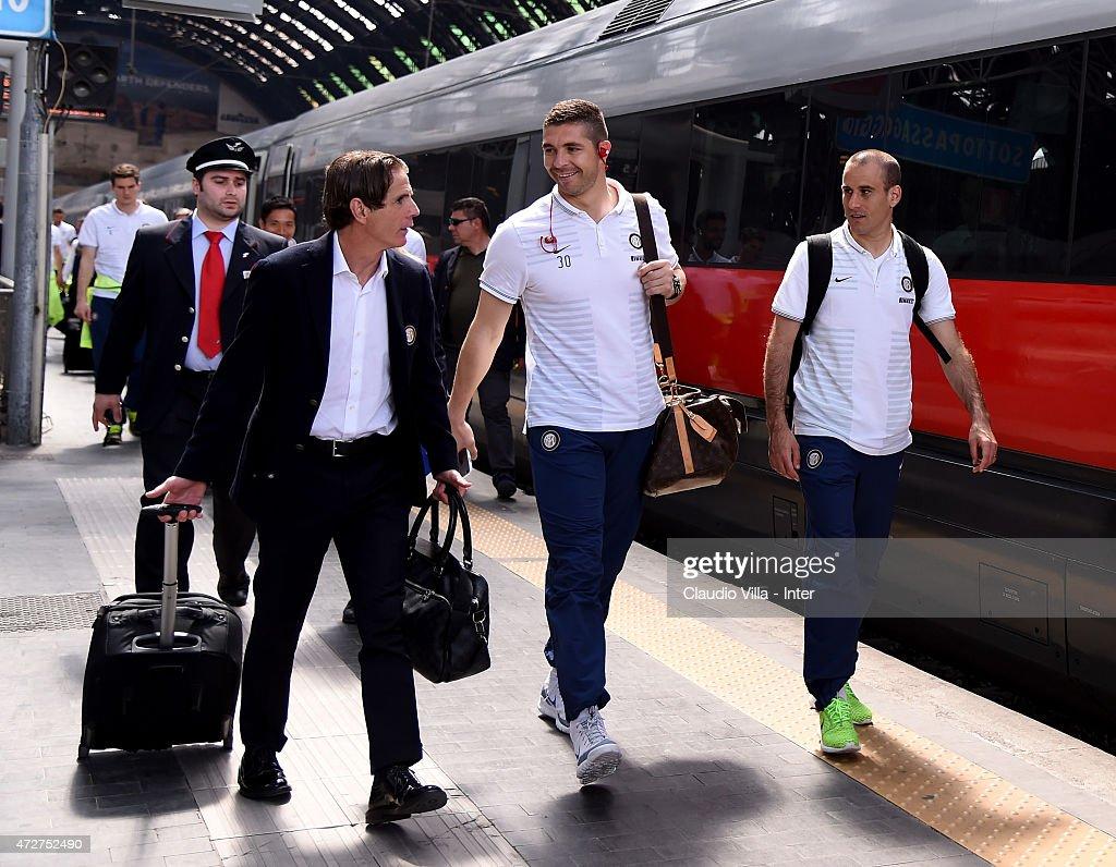 Assistant coach Fausto Salsano, Juan Pablo Carrizo and Rodrigo Palacio of FC Internazionale depart to Rome at train station on May 9, 2015 in Milano, Italy.