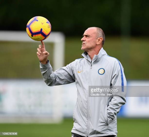 Assistant coach FC Internazionale Giovanni Martusciello looks on during a training session at the club's training ground Suning Training Center in...