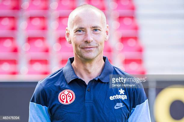 Assistant coach Flemming Pedersen poses during the 1 FSV Mainz Team Presentation at Coface Arena on July 18 2014 in Mainz Germany