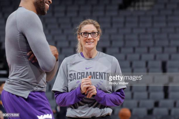 Assistant Coach for Player Development Jenny Boucek of the Sacramento Kings coaches against the Utah Jazz on January 17 2018 at Golden 1 Center in...